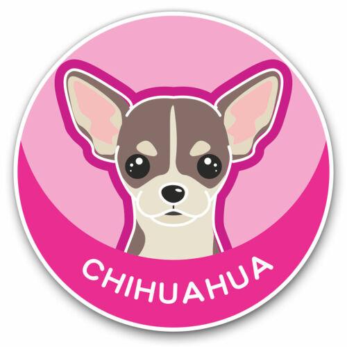 2 x Vinyl Stickers 10cm Chihuahua Cartoon Cute Dog Face Cool Gift #5985