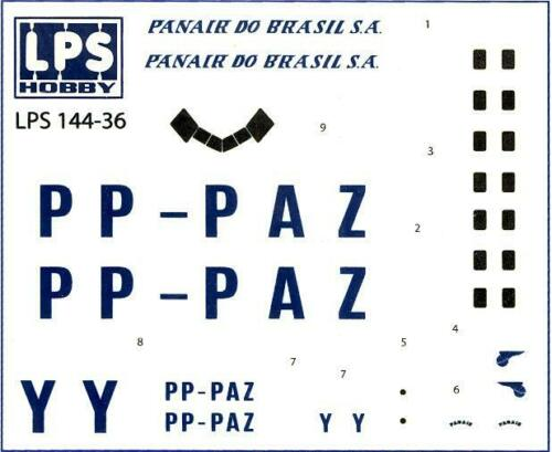 LPS Decals 1//144 DOUGLAS DC-3 Panair Do Brasil S.A.