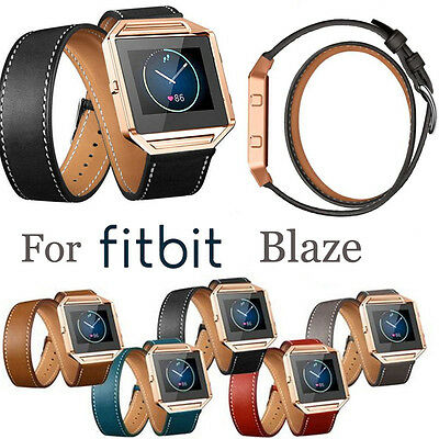 Double Tour Leather Wrist Band Strap + w/Buckle + w/Pins for Fitbit Blaze Watch