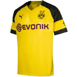 PUMA-Men-039-s-BVB-Dortmund-18-19-Home-Jersey-Black-Yellow-753310-01