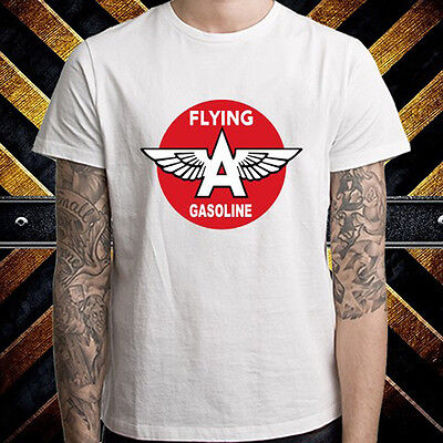 Flying A Gasoline Oil Company Logo Men/'s White T-Shirt Size S to 3XL