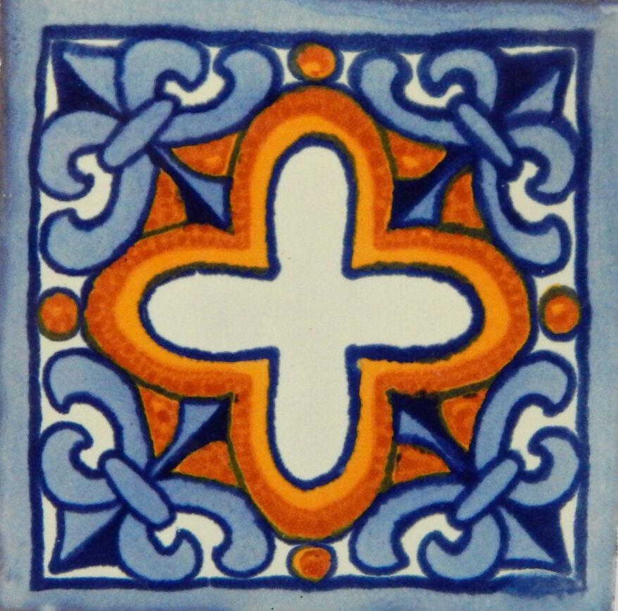 100 Handmade Ceramic Mexican Tile Folk Art 4x4