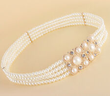 New Lady Four Chain Pearl Rhinestone Wide Elastic Stretch Casual Waist belt