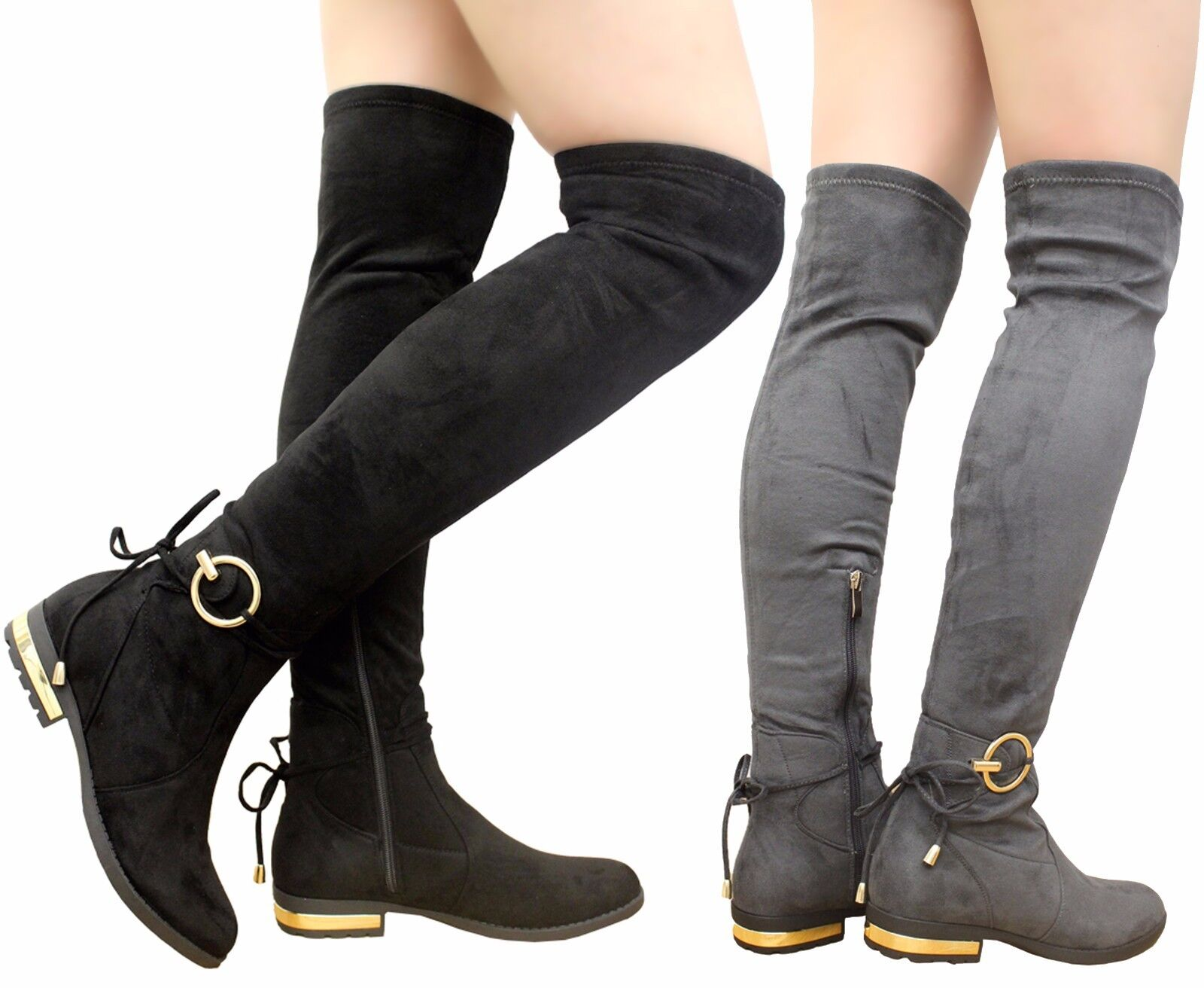 Ladies Womens Thigh High Over The Knee Boots Tie Back Buckle Low Heel Shoes Size