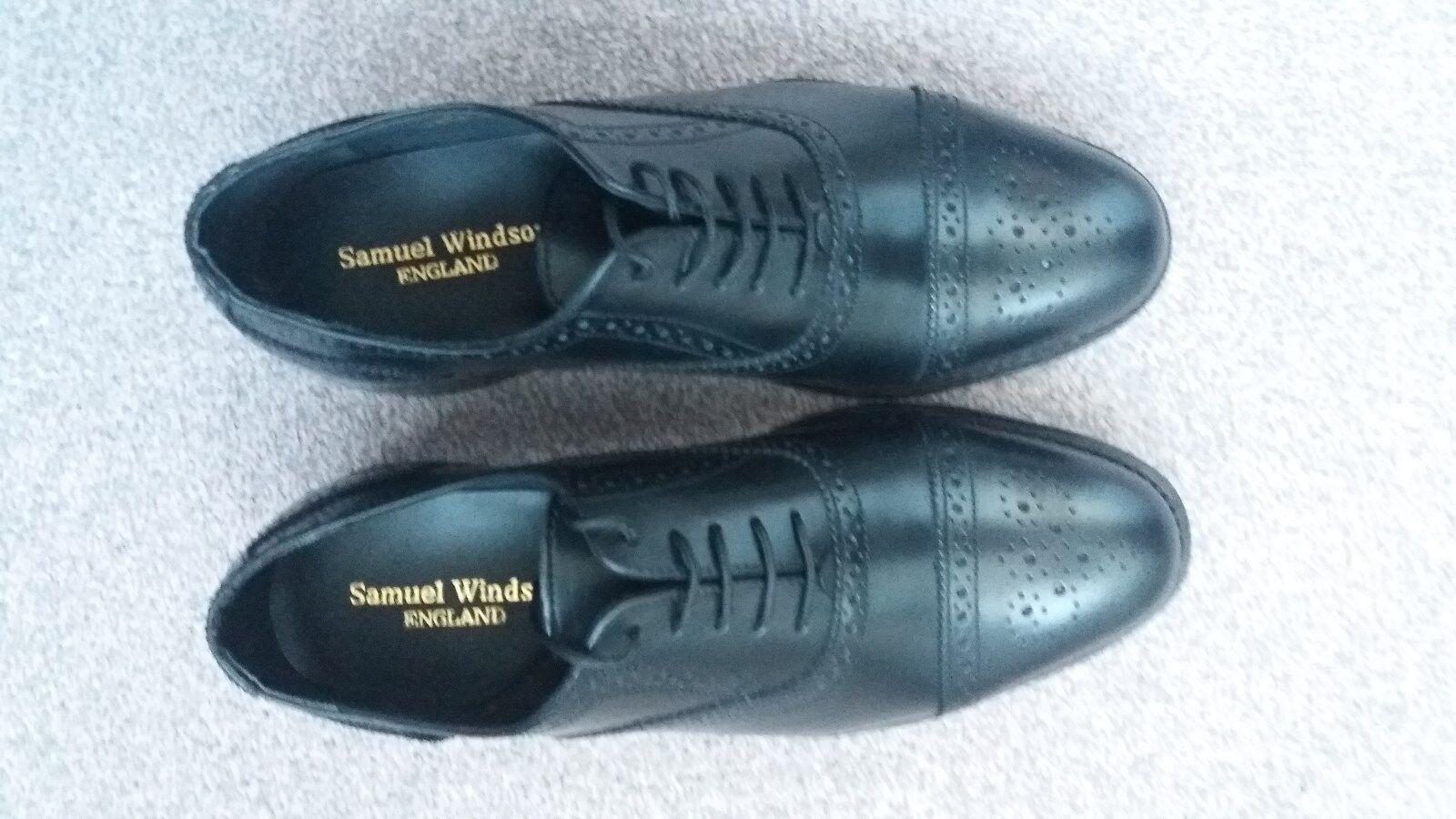 Brand New Mens Samuel Windsor Black Leather Brogues Size 7.