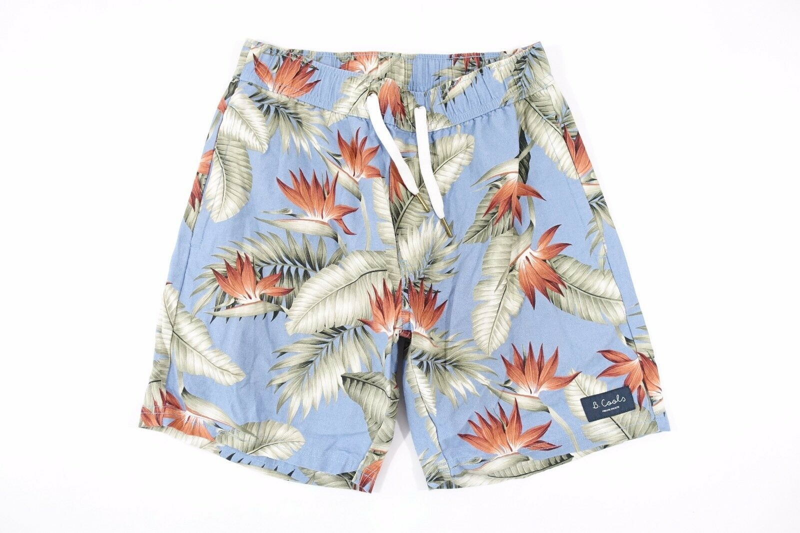 BARNEY COOL HAWAIIAN FLORAL blueE 30 LINEN BLEND DRAW STRING SHORTS MENS NEW