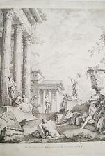 GRAVURE GIOVANNI PAOLO PANINI RUINES CITE GRECQUE HUQUIER OLD PRINT XVIIIe