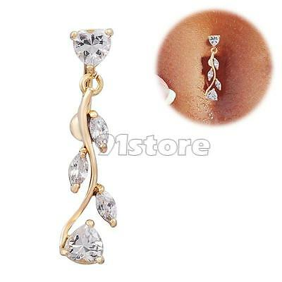 1pcs Gold Dangle Belly Button Rings Body Piercing Reverse Sexy Navel rings SR1G