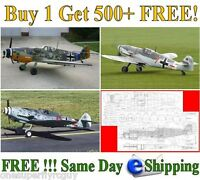 Messerschmitt Bf-109 Giant Scale Rc Airplane Full Size Plans & Templates On Cd