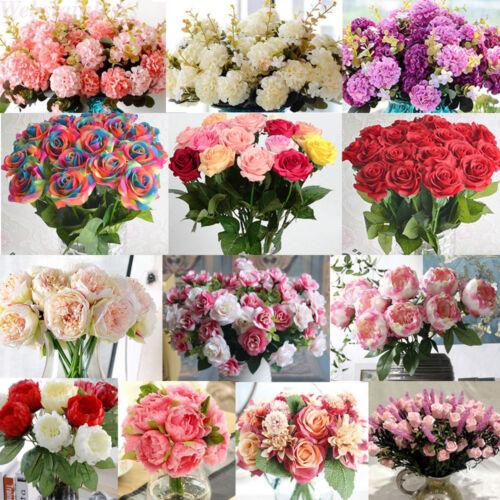 30Heads Artificial Fake Silk Flowers Wedding Bride Bouquet Party Home Decor Lot