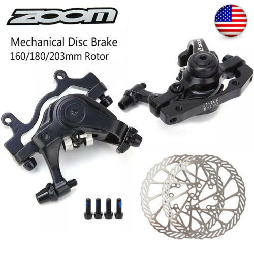 ZOOM Front//Rear Mechanical Disc Brake MTB Bike 160mm//180mm//203mm Rotor 6 Bolts