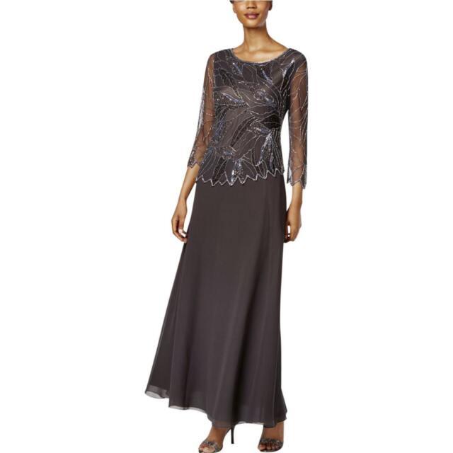 J Kara Grey Mesh Panel Embellished Beaded A-line Gown 6   eBay