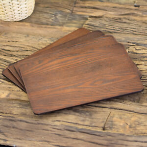 Set Of 4 Brown Thick Ash Veneer Wooden Placemats Dining