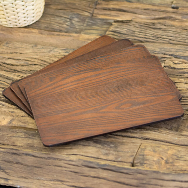 Set Of 4 Brown Thick Ash Veneer Wooden Placemats Dining Table Place Setting Mats