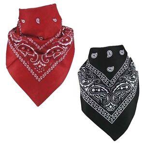 Paquete-de-2-diseno-de-cachemira-Bandanas-negro-y-Rojo-Mejor-Deal