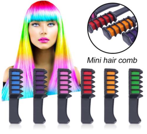 6PCS Temporary Hair Colour Chalk Dye Comb Soft Pastels DIY ...