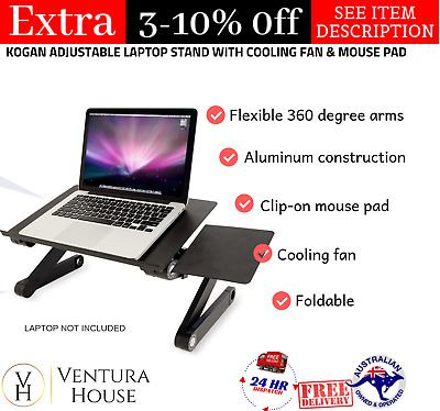 ADJUSTABLE HEIGHT /& ANGLE LAPTOP//TABLET HOLDER WITH USB FANS /& MOUSE HOLDER