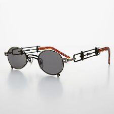 Small Oval Steampunk Sunglasses Intricate Temple Design Gun and Gray- DARIUS