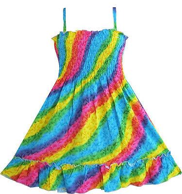 Sunny Fashion New Girls Dress Rainbow Smocked Halter Children Clothing SZ 2-10