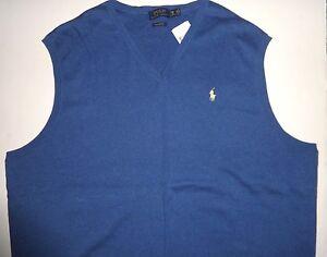 Lt Ralph Bigamp; About New 3lt Mens Details Blue Polo Lauren Sweater Tall Cotton Xlt Vest Pima m8vnyNwP0O