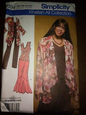Simplicity 1733 Khaliah Ali Collection Size 20W-28W Dress Top Pants Tunic Jacket