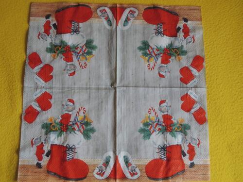 1 Packung 20 Servietten XMAS MICE Weihnachten Mäuse Maus Stiefel Mütze Handschuh