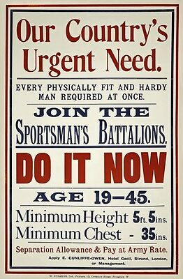 WA112 Vintage WW1 British Sportsman Battalions Enlist War Poster WWI A1/A2/A3/A4