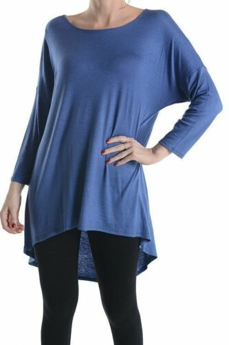 NEW WOMEN POPULAR SCOOP NECK HI LOW ASYMMETRIC 3//4 SLEEVE LONG TUNIC TOP S-XL