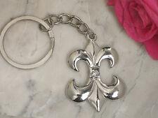 100 Silver Fleur De Lis Keychain Bridal Wedding Favors in Gift Box