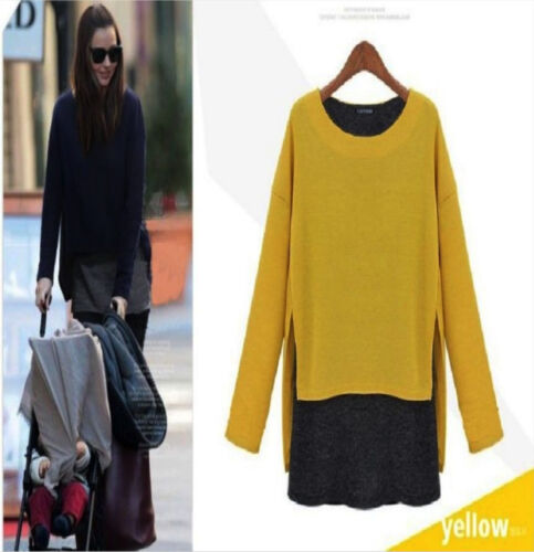 Q01 Womens Stylish 2 in 1 Long Sleeve Crew Neck Quality Knitted Loose Jumper Top