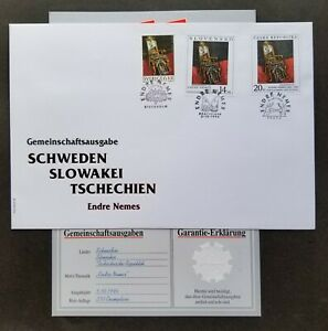 [SJ] Sweden Czech Republic Slovakia Joint Issue Painting 1996 FDC *guaranty card