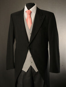 MJ-94 MENS BLACK 2 PIECE MORNING TAIL SUIT IDEAL FOR ASCOT/ WEDDING/FORMAL WEAR