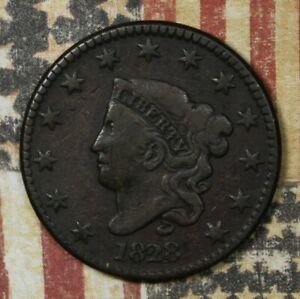 1828-Coronet-Head-Copper-Large-Cent-Large-Narrow-Date-Collector-Coin