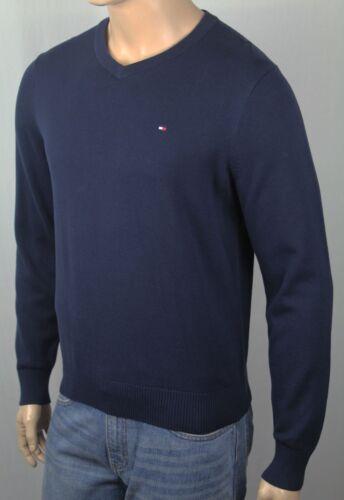 Tommy Hilfiger Navy Blue V-Neck Soft Cotton Sweater NWT