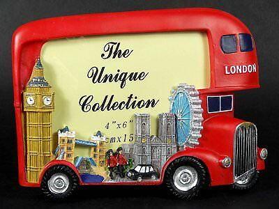 Photo Frame-Londres Big Red Bus and Skyline HAND PAINTED picture frame