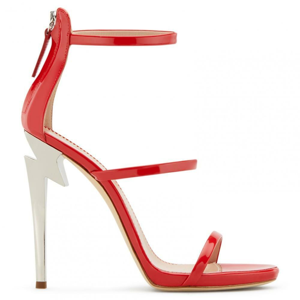 GIUSEPPE ZANOTTI G Heel Harmony Sandals Three Strap Red Patent Leather 40  860