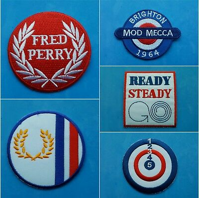 MOD SCOOTER JAM WHO SELECTION A IRON ON PATCHES: WHOLESALE SET OF FIVE SEW ON