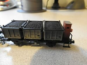 Marklin HO Scale Flat Car with Coal Bins Set