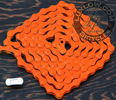 "Orange KMC Fixie Bicycle Chain Single Speed 1//2x1//8/""112 Schwinn Cruiser Bike BMX"