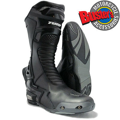 Tuzo Black Motorcycle Road Race Boots CE Approved Waterproof Breathable Liner