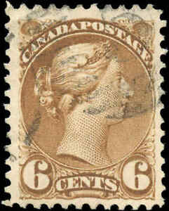 Canada-Used-1872-6c-F-VF-Scott-39b-Perf-11-5x12-Small-Queen-Stamp