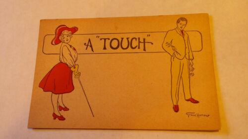 "People Postcard A /""Touch/"" Grace Harlow Artist Signed Pre-Linen Antique vtg"