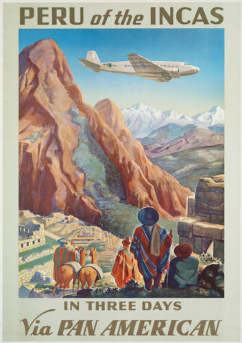1930s Airline Poster Vintage Reprint A4 Wall Art Peru // Incas // Pan Am