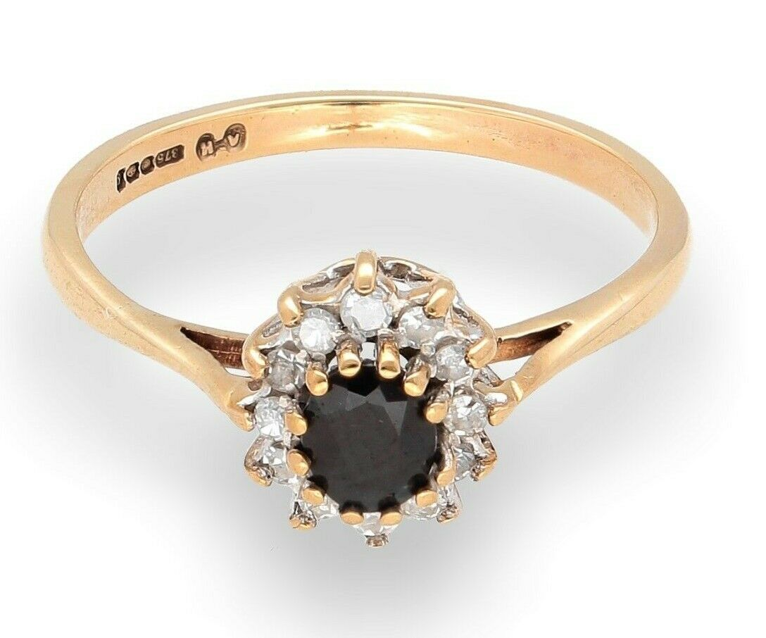 9Carat Yellow gold Sapphire And Simulated Diamond Cluster Ring (Size P 1 2)