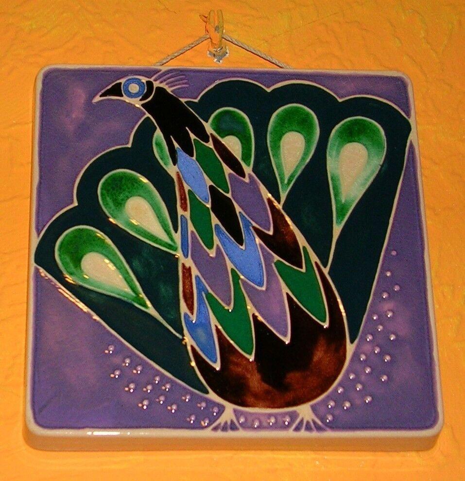 Keramik Fliese Pfau Wandbild Steuler 17 x 17 cm Deko Kunst Tiermotiv