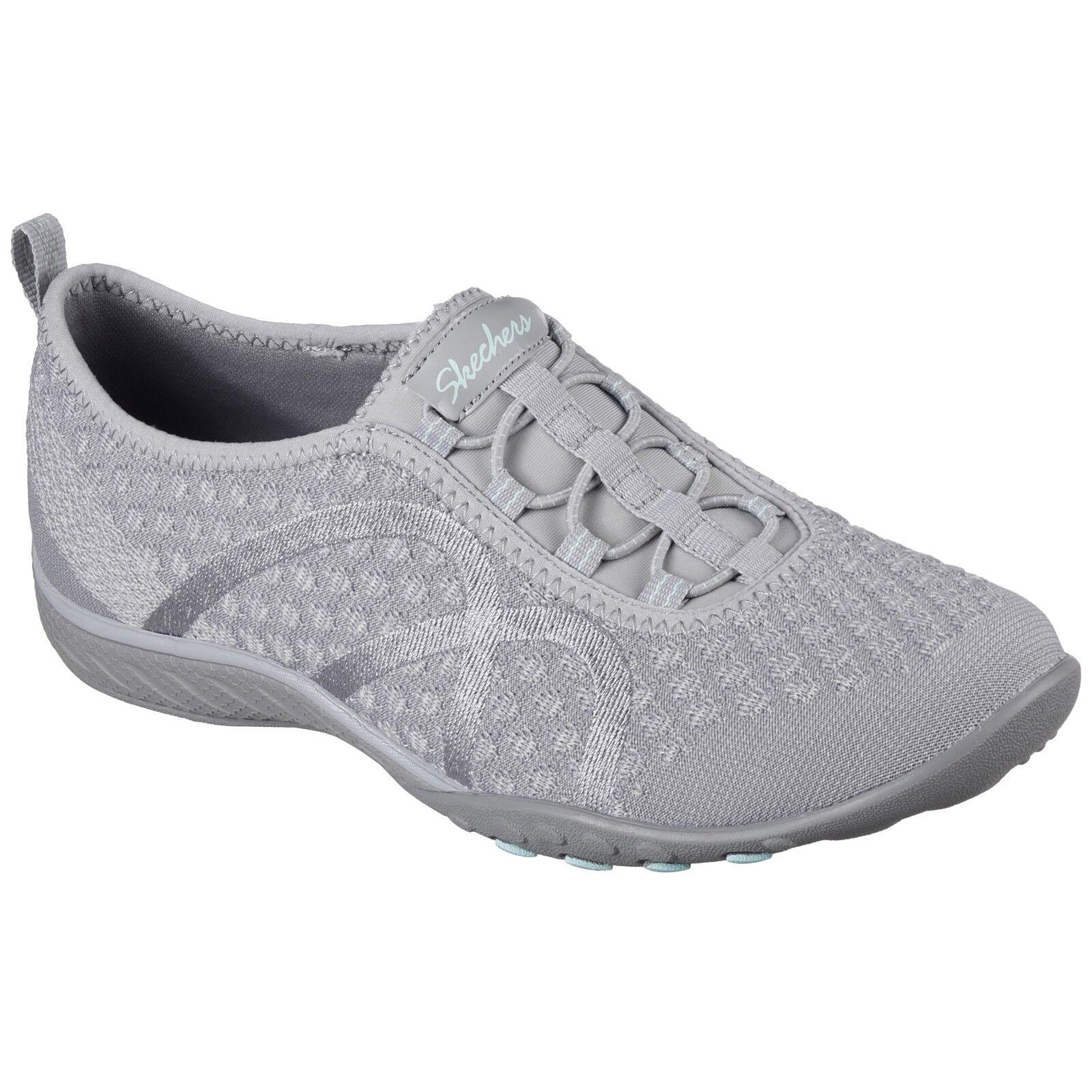LADIES SKECHERS FORTUNEKNIT GRAY MEMORY FOAM SLIP ON Schuhe 23028/GRY
