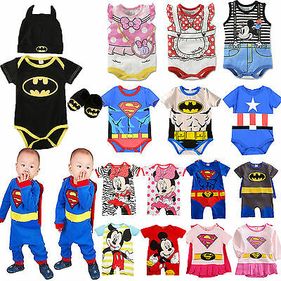 Infant Baby Boy Girl Superhero Cartoon Romper Playsuit Jumpsuits Outfit Clothes