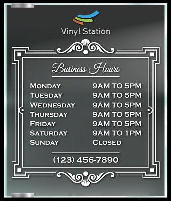 Custom Funny Business Store Hours Vinyl Window Decal Outdoor Sticker Sign Door