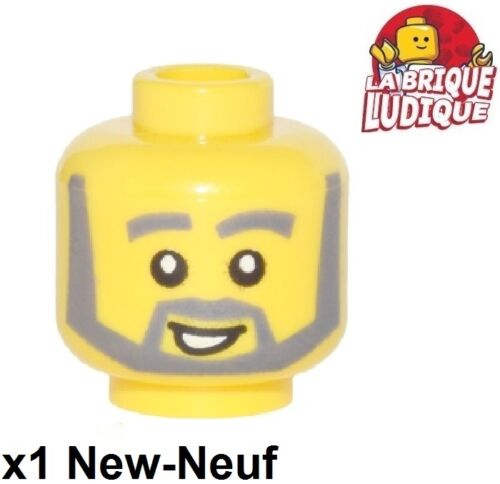 Lego 1x minifig tête head homme barbe grise beard sourire smile 3626cpx288 NEW