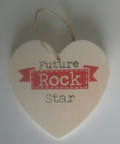 """/""""Future Rock Star/"""" Great Cool Cadeau Shabby Chic en Bois Coeur Plaque Murale"""